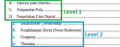Mengatur level halaman di Word