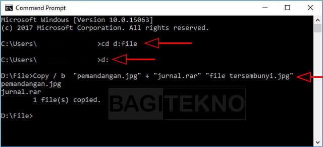 Cara sembunyikan file di balik gambar menggunakan CMD