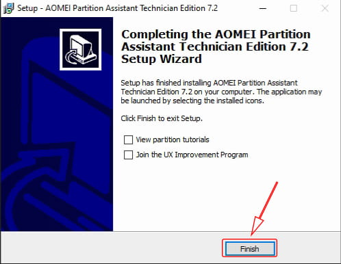 Finish Install AOMEI Partition