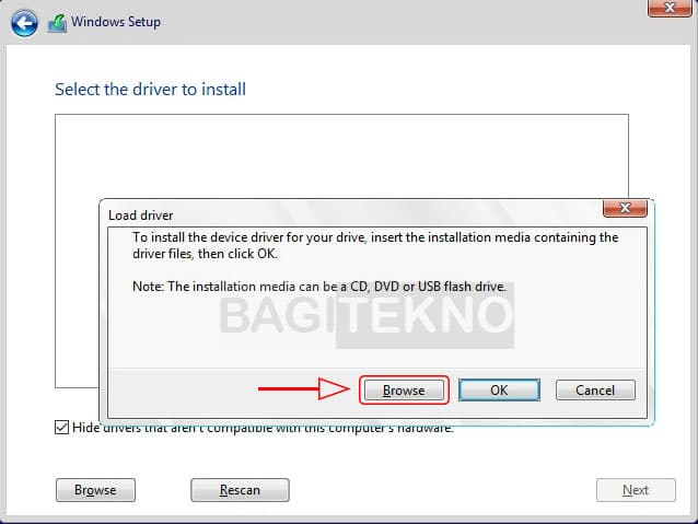 Melihat isi partisi pada setup Windows 10