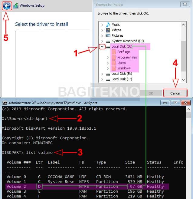 Melihat ukuran partisi Windows sebelumnya yang harus dihapus