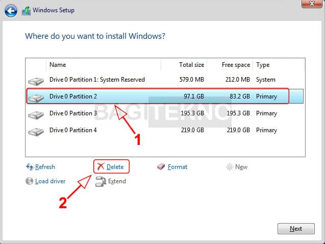 Menghapus partisi Windows sebelumnya untuk ditimpa Windows 10