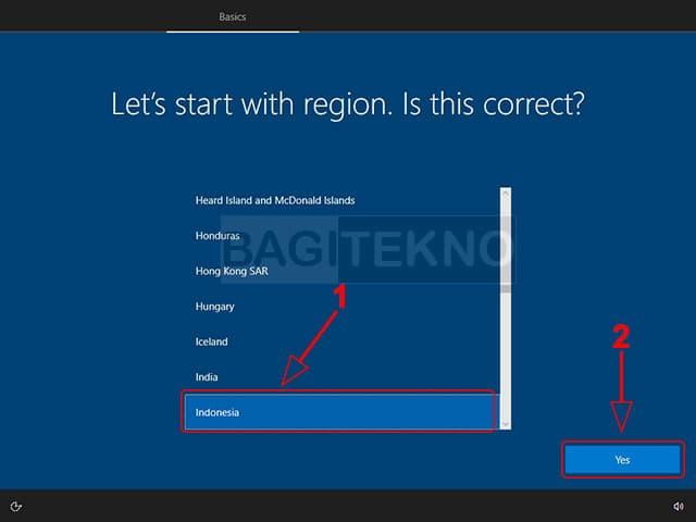 Pilih negara pada konfigurasi Windows 10