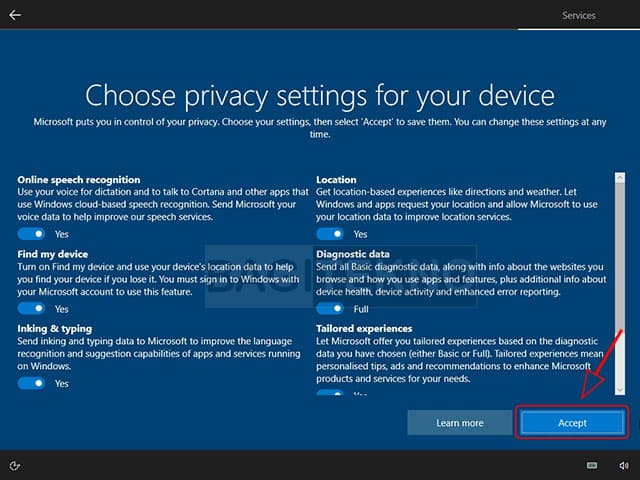 Atur privasi anda di Windows 10