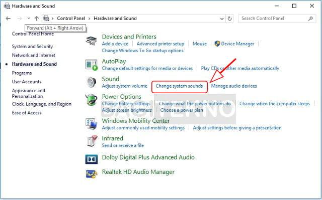 pengaturan suara di Windows 10 melalui Control Panel