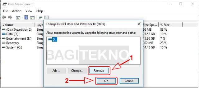 Menyembunyikan partisi di Windows melalui Disk Management
