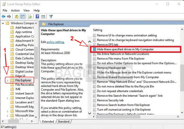 Menyembunyikan partisi Hardisk di Windows melalui GPEdit