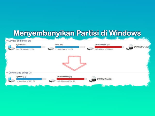 Cara menyembunyikan drive / partisi Hardisk di Laptop Windows 10 8 7