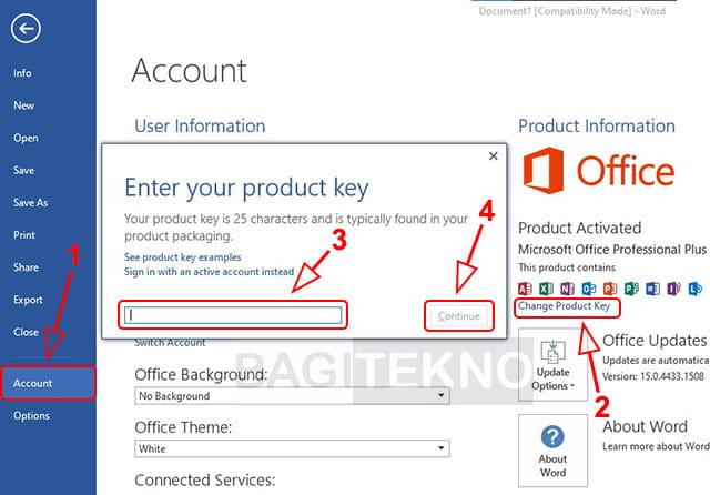 Cara mengganti product key Ms Office