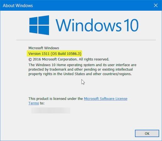 Dukungan Windows 10 1511 dihentikan