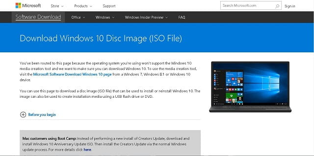 download iso Windows 10 April 2018 Update dari server microsoft