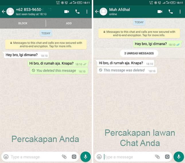 menghapus pesan WhatsApp yang telah terkirim