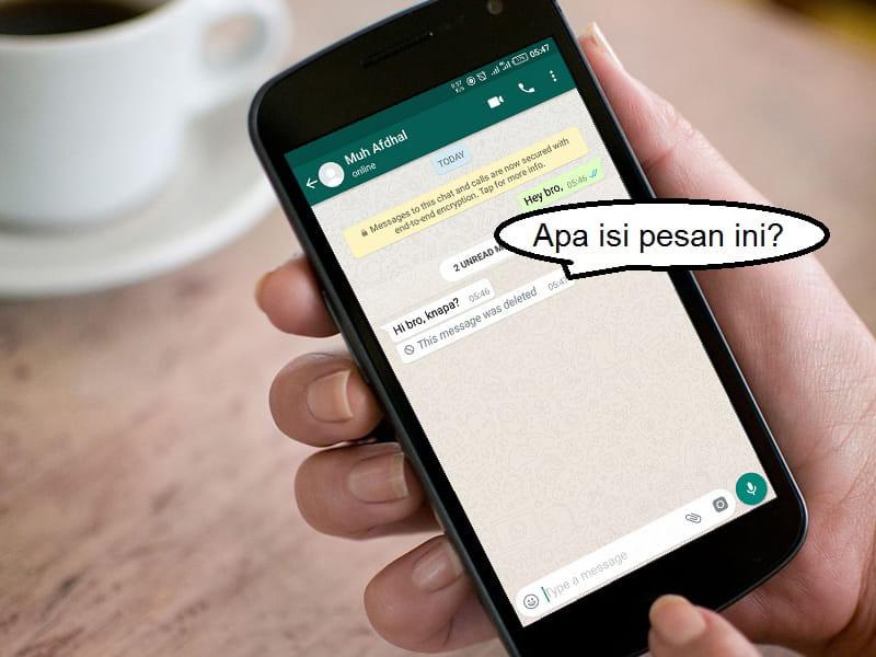 melihat isi pesan whatsapp yang telah dihapus