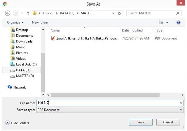 menyimpan file pdf yang sudah terpisah