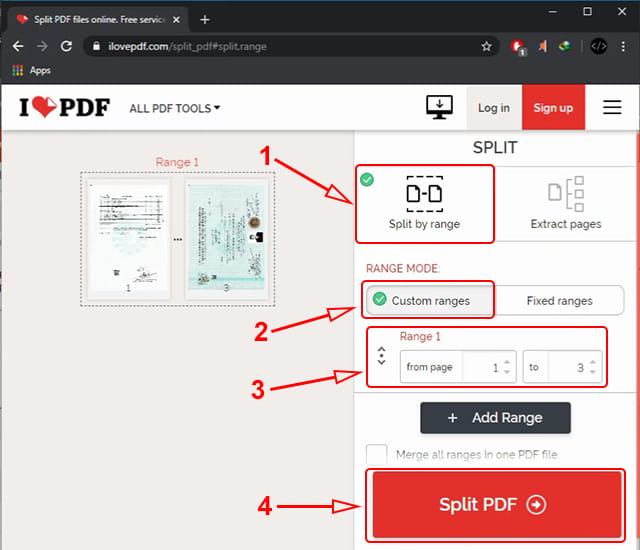 Memecah file pdf secara online
