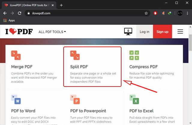 Split PDF secara online