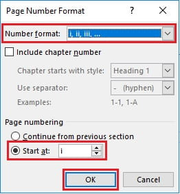 Memilih format nomor halaman