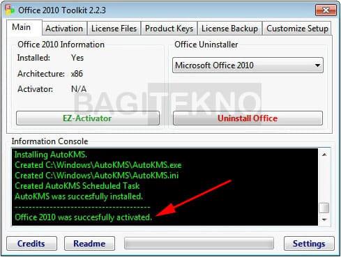 Office 2010 sukses teraktivasi
