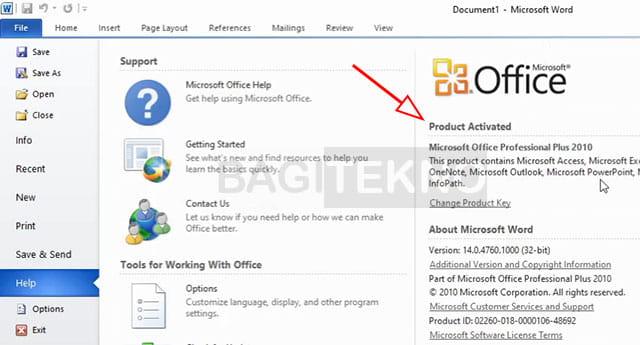 Office 2010 sudah aktif