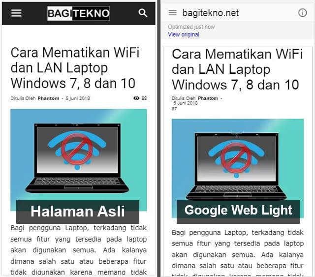 pengertian dan fungsi google web light