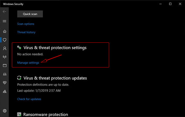 Mematikan Windows Security di Windows 10 October 2018 Update