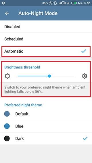Aktifkan Night Mode telegram secara otomatis