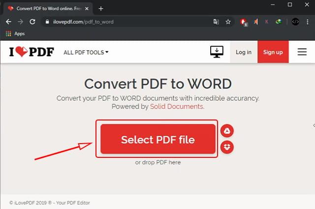 Upload pdf di konverter online