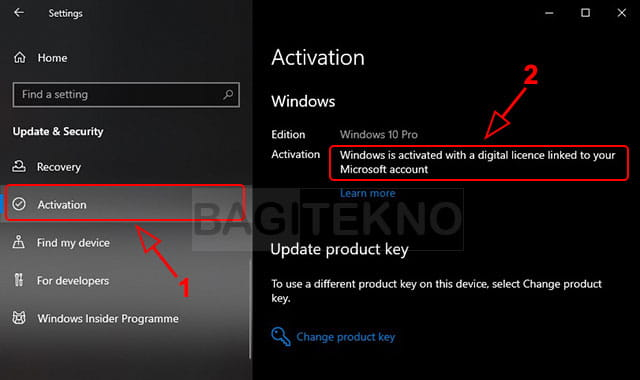 Masuk ke update dan security Windows 10