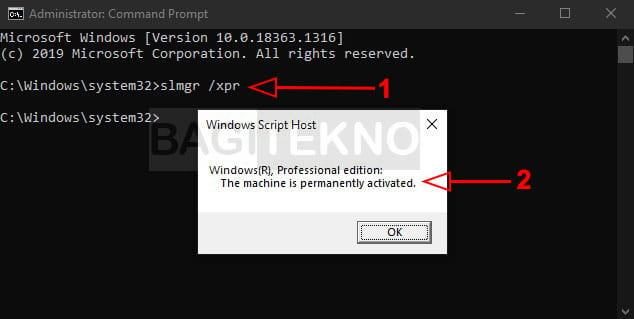 Cek status aktivasi Windows 10 via CMD