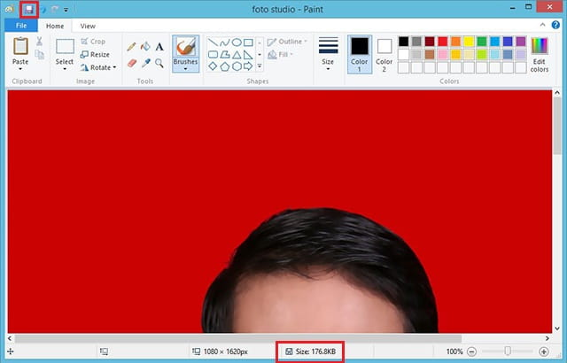 Mengurangi ukuran file foto dengan paint