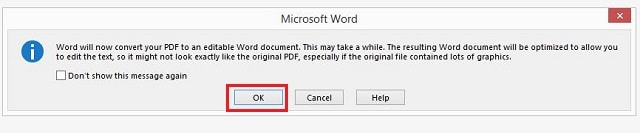 Approved the process of conversion to Word