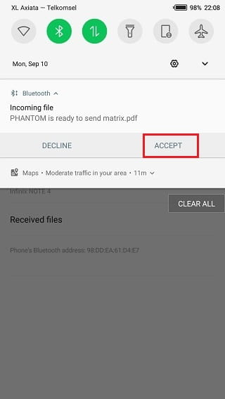 Menerima file kiriman bluetooth di Android