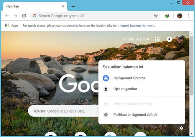 Ganti background halaman tab baru Google Chrome