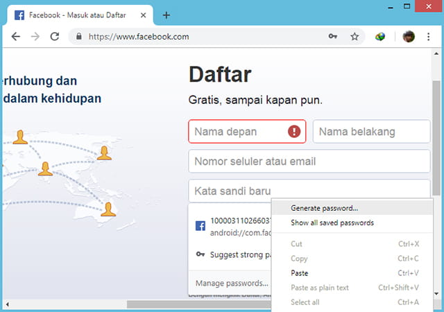 Menggunakan password generator Google Chrome