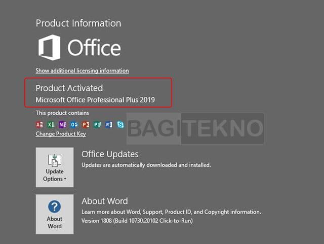 Cek apakah Office 2019 sudah teraktivasi