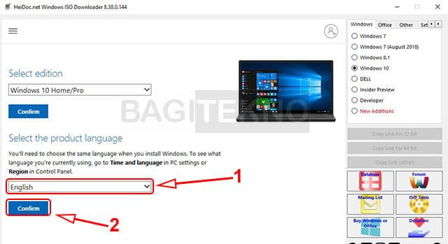 Memilih bahasa Windows terbaru berbahasa inggris