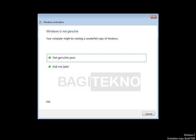 Kekurangan Windows 7 yang tidak diaktivasi