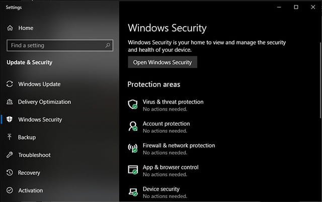 Windows Security pada Windows 10 October 2018 Update
