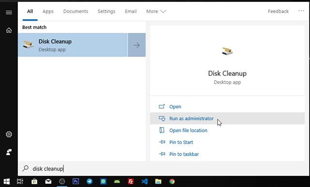 Menghapus Windows.Old menggunakan Disk Cleanup