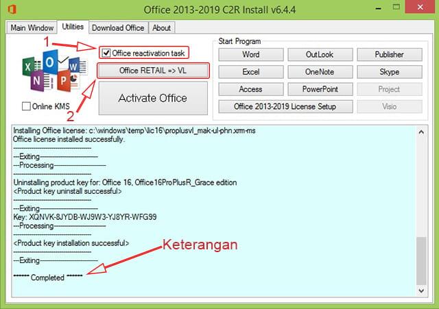 Convert Office 2016 ke VL menggunakan KMS Office 2019