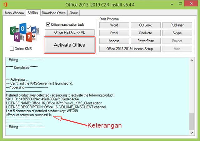 Mengaktifkan Microsoft Office 2016 menggunakan KMS Office 2019