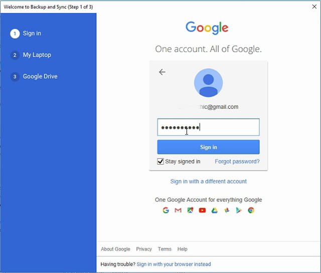 Login ke Google Backup and Sync