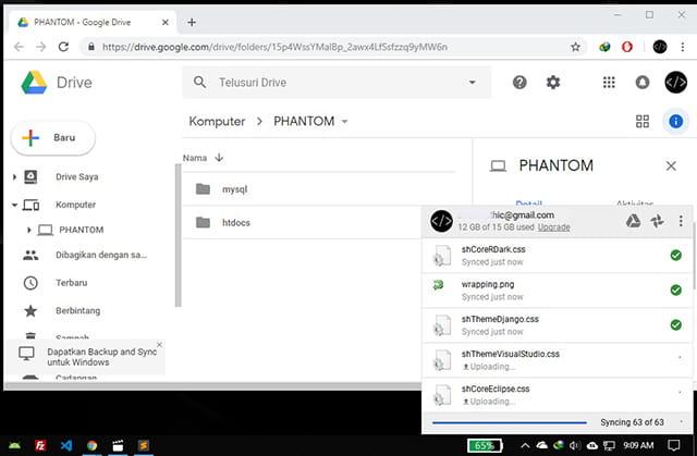 Proses sinkronisasi Google Drive dan Laptop