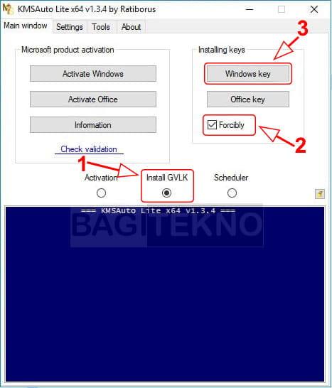 Pasang product key dari KMS Auto Lite