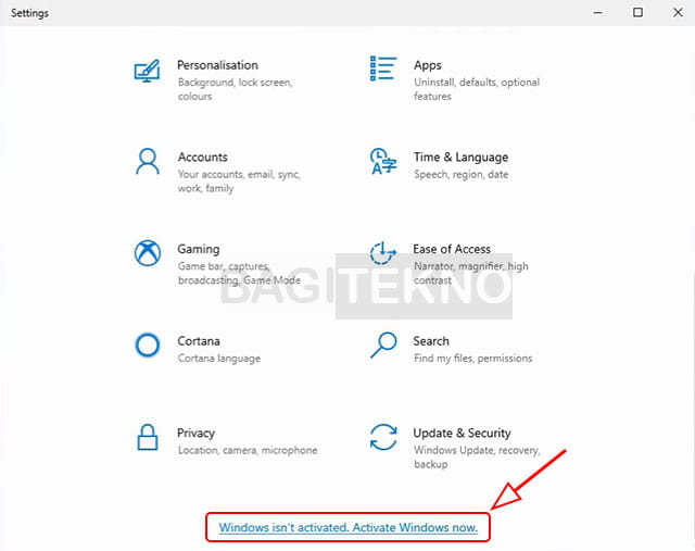Cara aktivasi windows 10 original