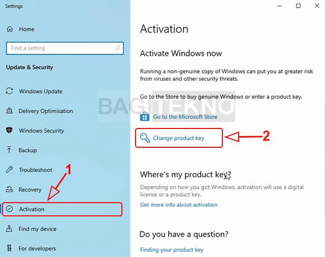 Mengubah product key Windows 10