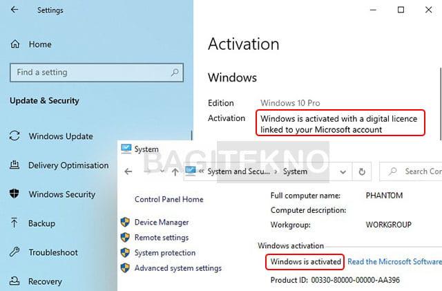 Keterangan Windows sudah aktif