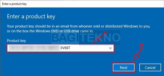 Masukkan product key Windows 10