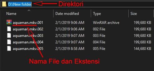 Menggabungkan file part tanpa software menggunakan CMD