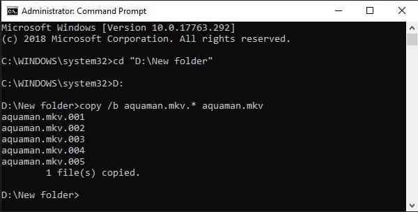 Menggabungkan file 001, 002, 003, dst tanpa software menggunakan CMD